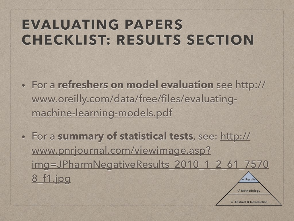 EVALUATING PAPERS CHECKLIST: RESULTS SECTION • ...