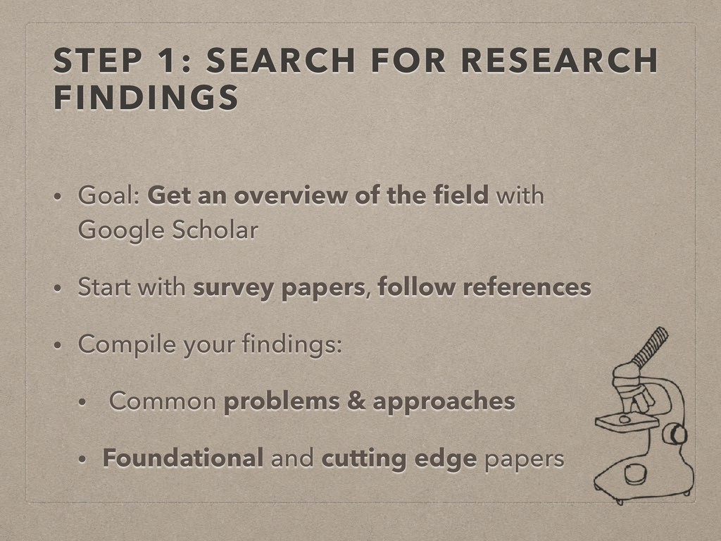 STEP 1: SEARCH FOR RESEARCH FINDINGS • Goal: Ge...