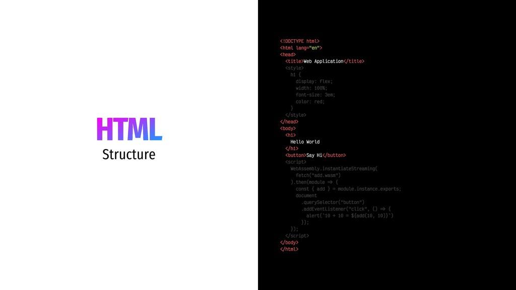 "HTML Structure <!DOCTYPE html> <html lang=""en"">..."