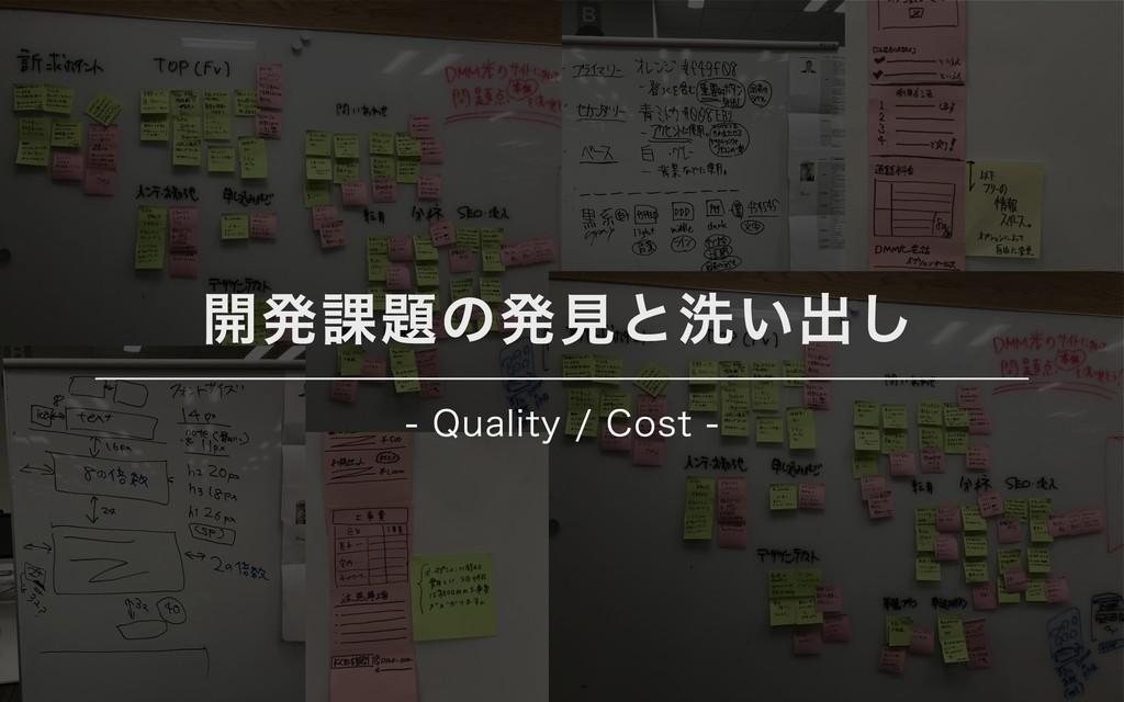 開発課題の発⾒と洗い出し - Quality / Cost -