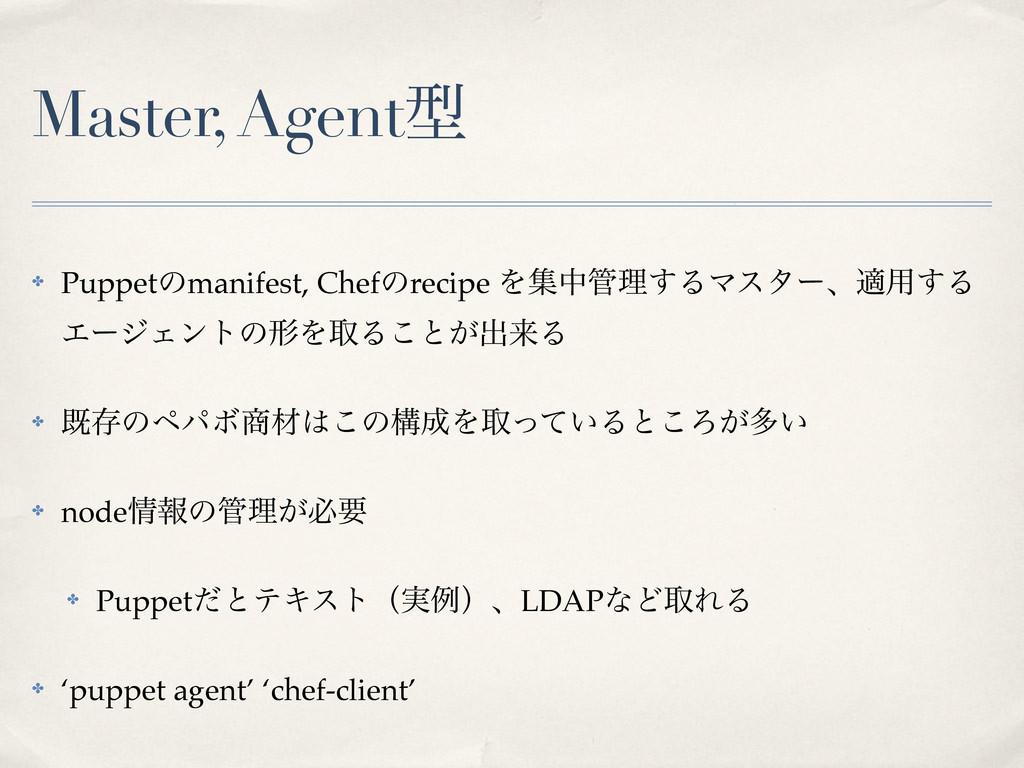 Master, Agentܕ ✤ Puppetͷmanifest, Chefͷrecipe Λ...