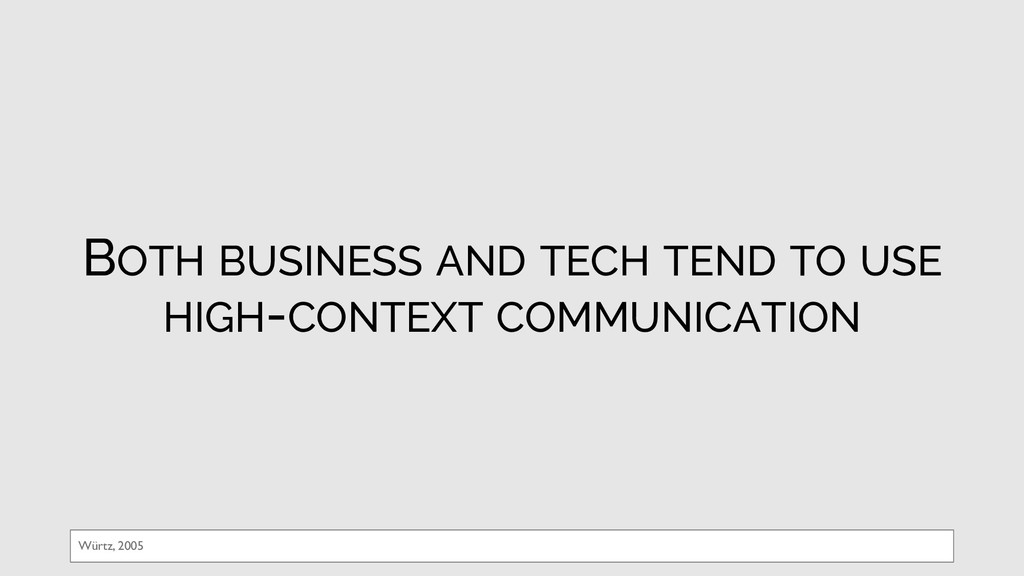 BOTH BUSINESS AND TECH TEND TO USE HIGH-CONTEXT...