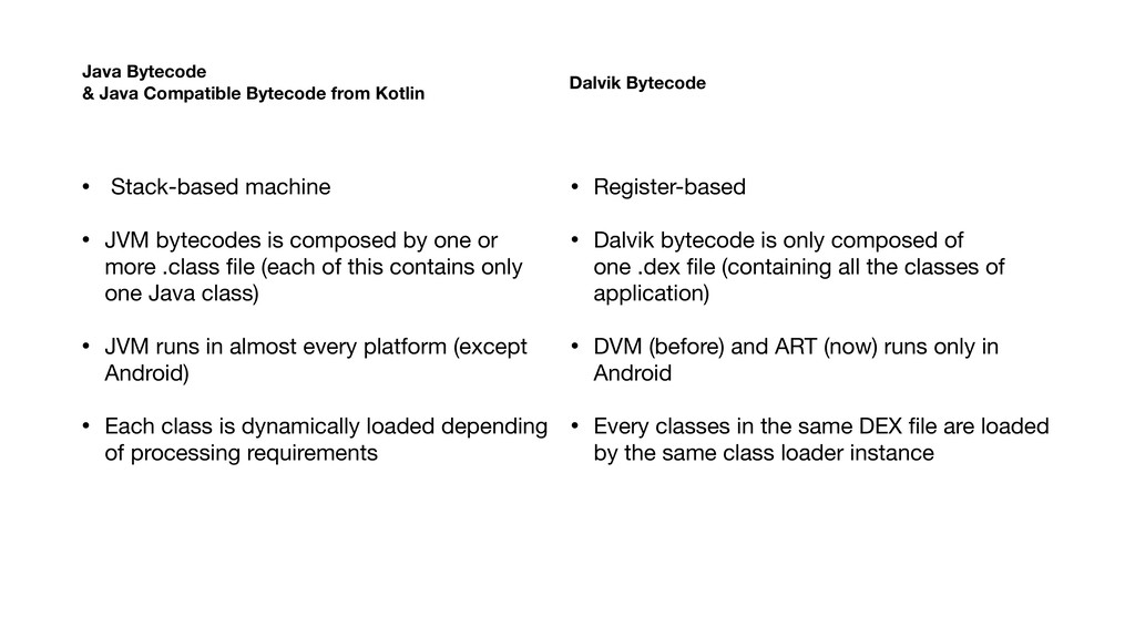 • Stack-based machine  • JVM bytecodes is compo...