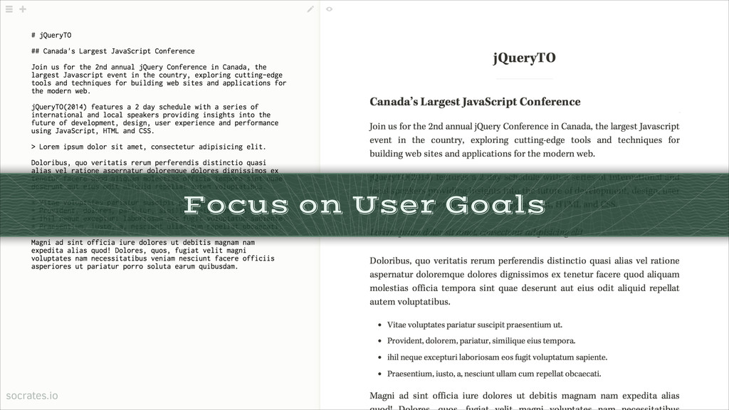 Focus on User Goals socrates.io