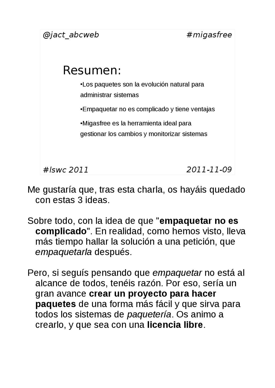 @jact_abcweb #migasfree Resumen: #lswc 2011 201...