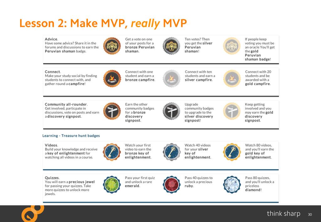 30 Lesson 2: Make MVP, really MVP