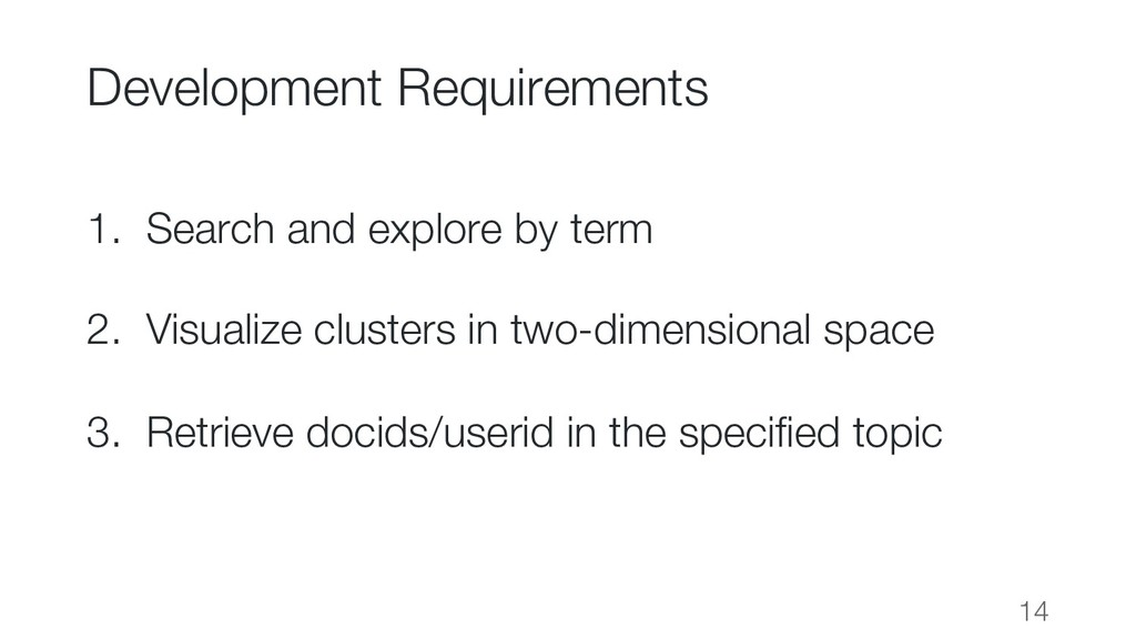 Development Requirements 1. Search and explore ...