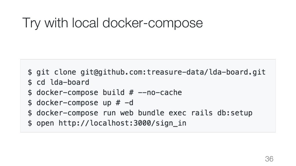 Try with local docker-compose 36
