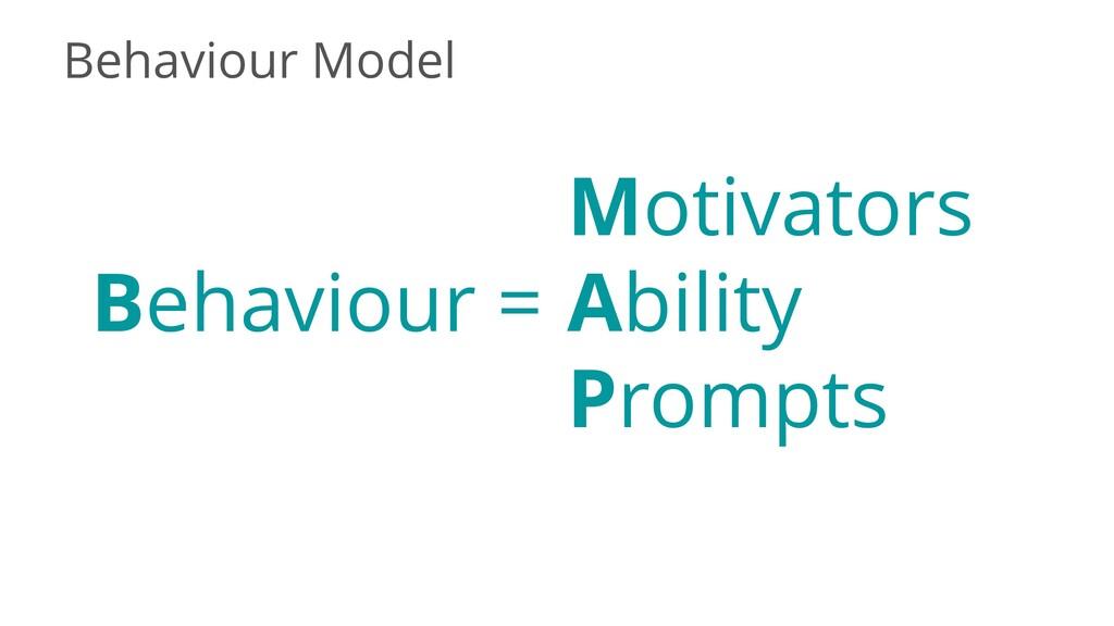 Behaviour Model Behaviour = Motivators Ability ...