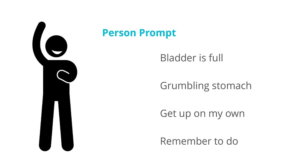 Person Prompt Bladder is full Grumbling stomach...