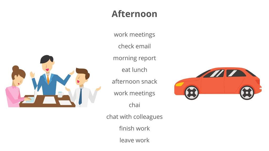 work meetings check email morning report eat lu...