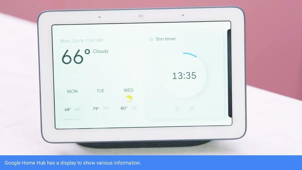Google Home Hub has a display to show various i...
