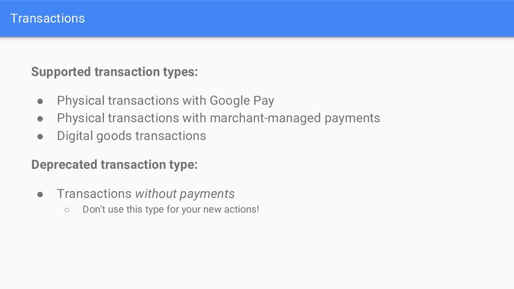 Transactions Supported transaction types: ● Phy...