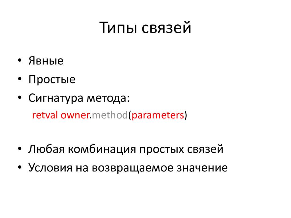 Типы связей • Явные • Простые • Сигнатура метод...