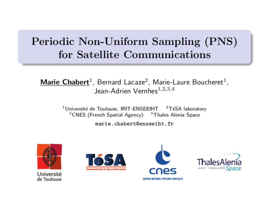 Periodic Non-Uniform Sampling (PNS) for Satelli...