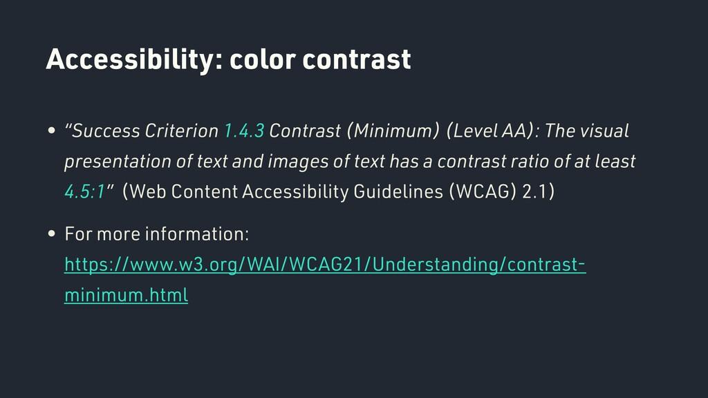 "Accessibility: color contrast • ""Success Criter..."