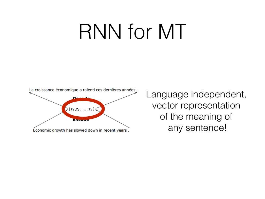 RNN for MT Language independent, vector represe...