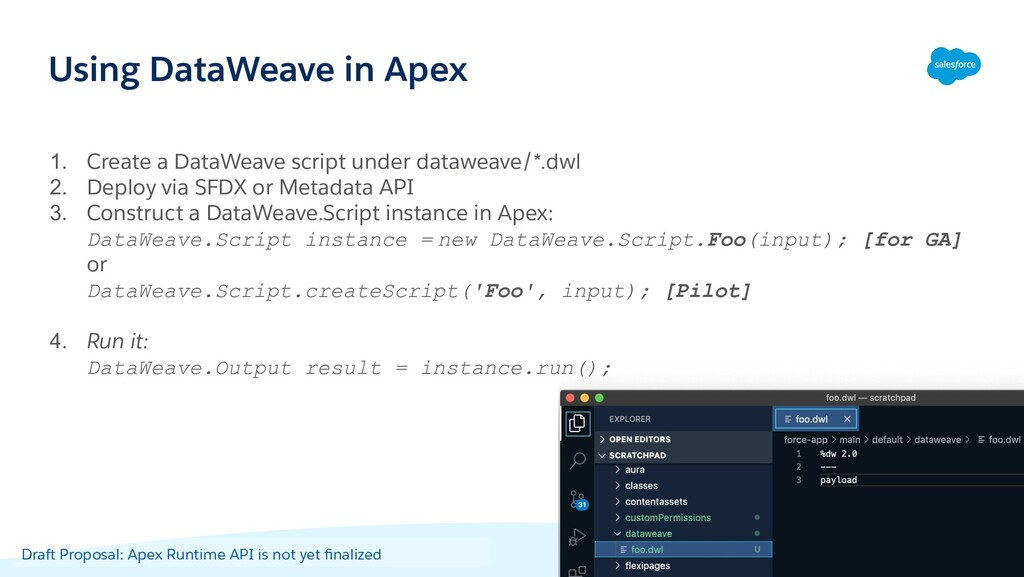 Using DataWeave in Apex 1. Create a DataWeave s...