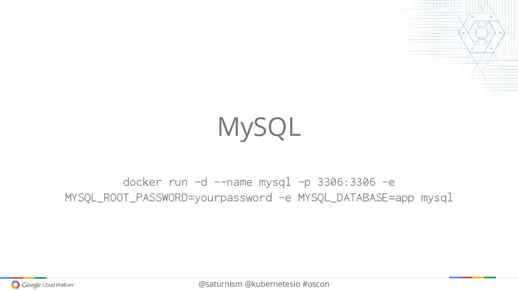 @saturnism @kubernetesio #oscon MySQL docker ru...