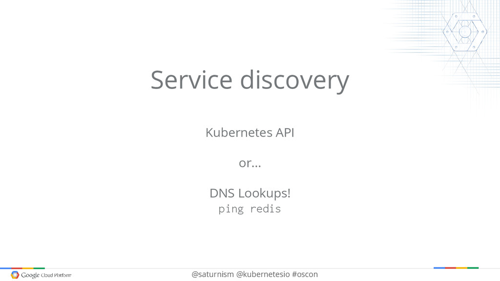 @saturnism @kubernetesio #oscon Service discove...
