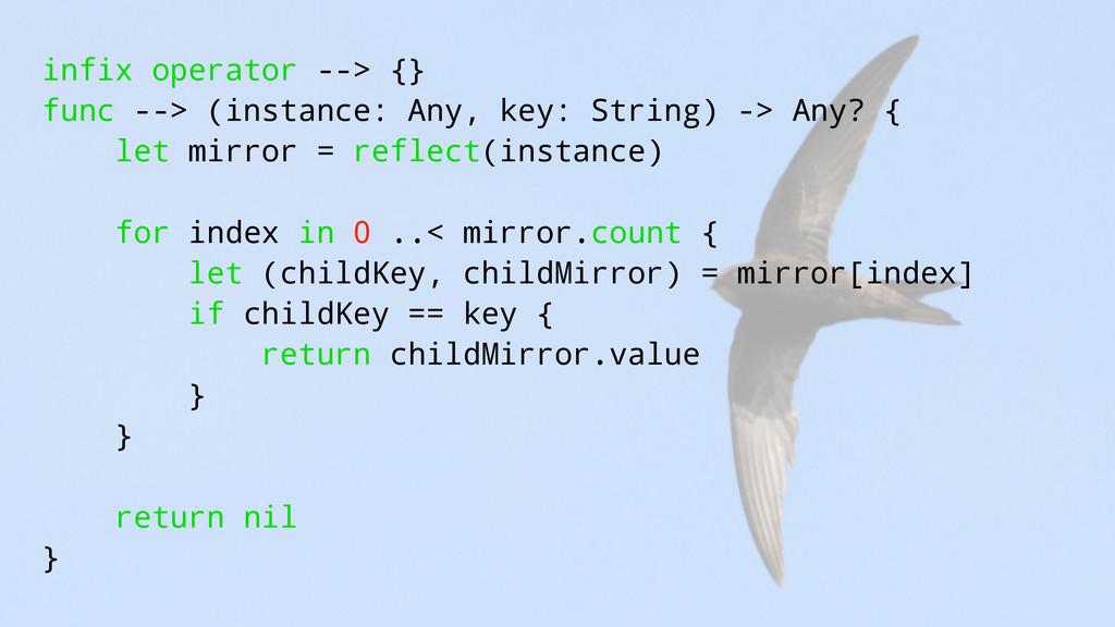 infix operator --> {} func --> (instance: Any, ...