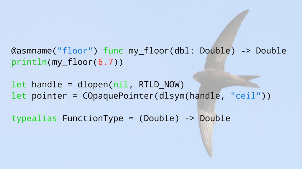 """@asmname(""""floor"""") func my_floor(dbl: Double) ->..."""