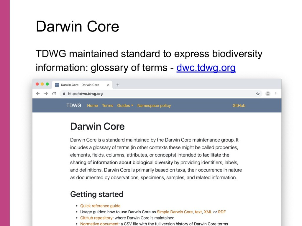 TDWG maintained standard to express biodiversit...
