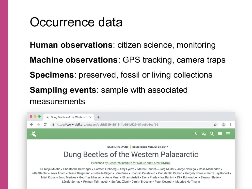 Human observations: citizen science, monitoring...