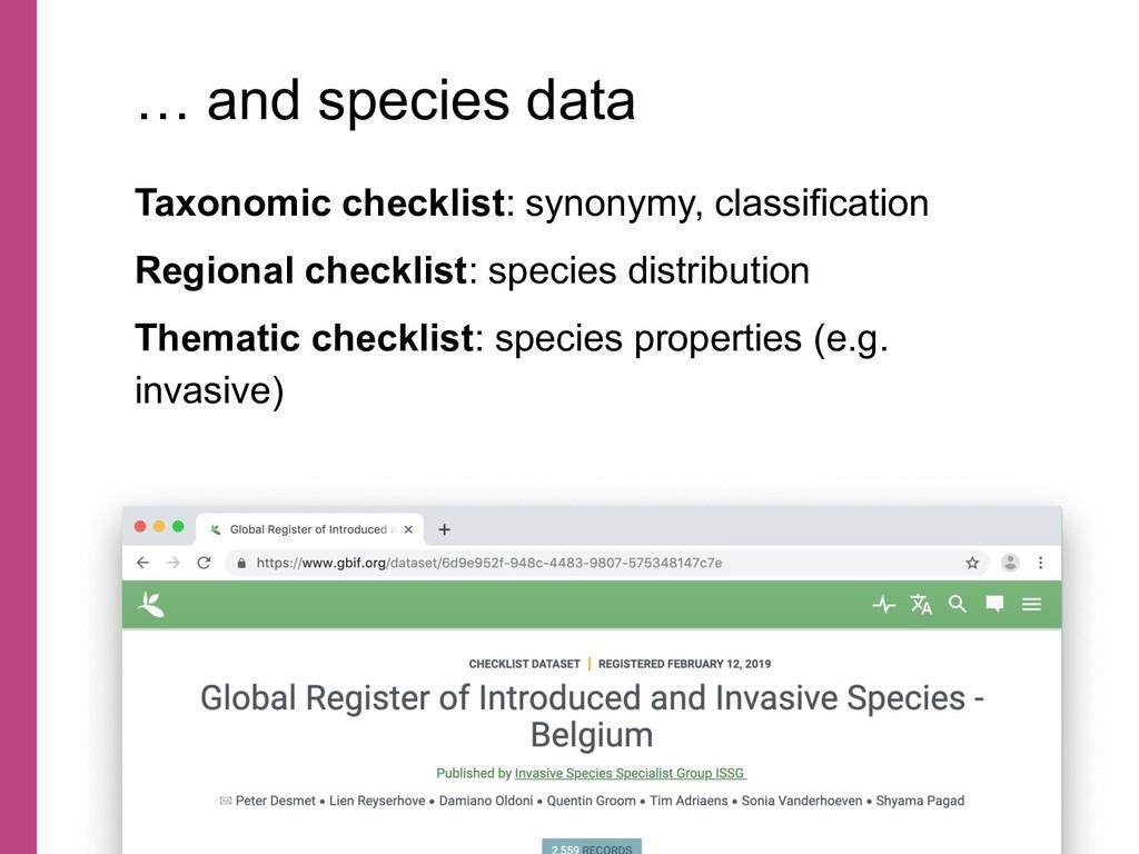 Taxonomic checklist: synonymy, classification R...