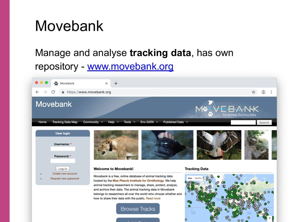 Manage and analyse tracking data, has own repos...