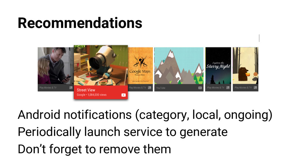 Recommendations Android notifications (category...