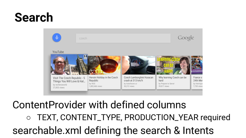 Search ContentProvider with defined columns ○ T...