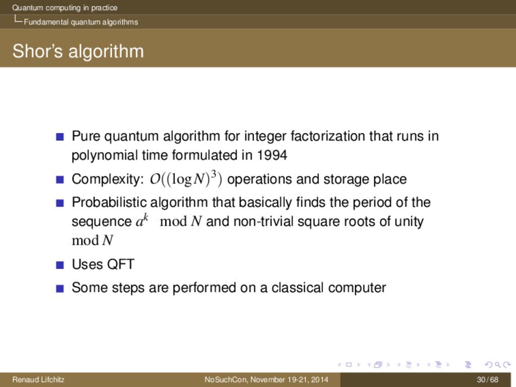 Quantum computing in practice Fundamental quant...