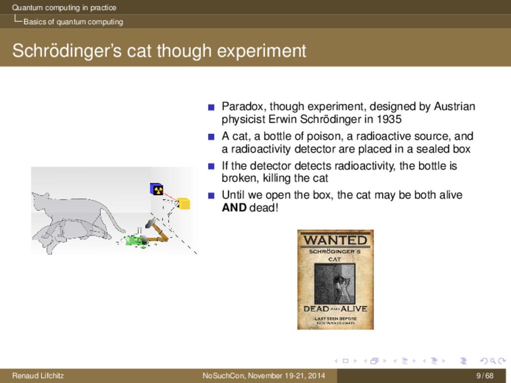 Quantum computing in practice Basics of quantum...
