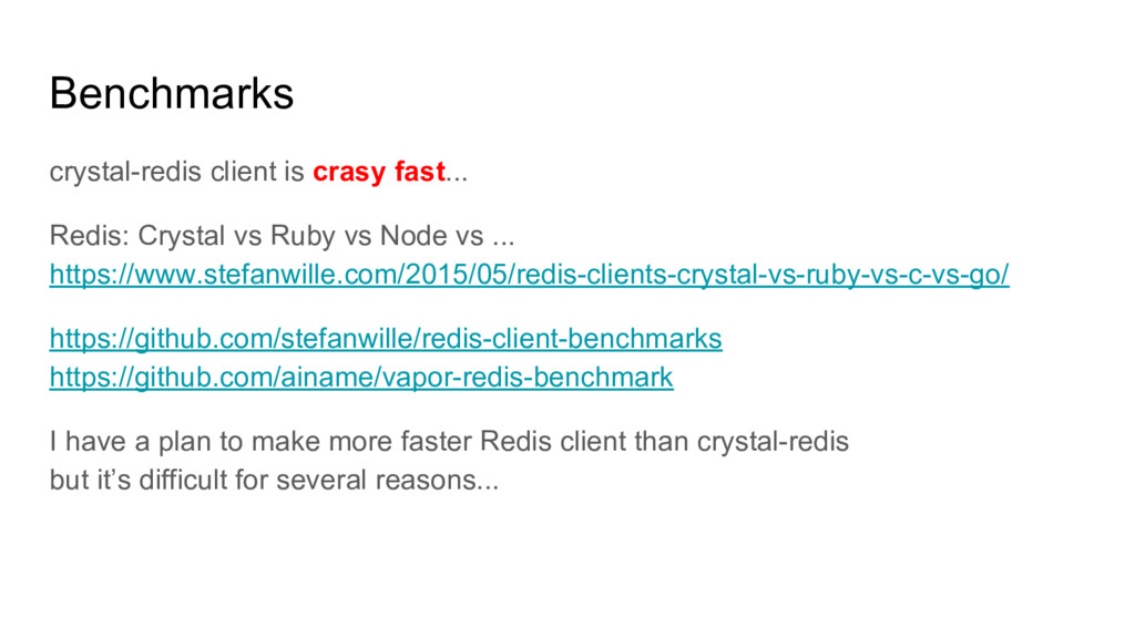 Benchmarks crystal-redis client is crasy fast.....