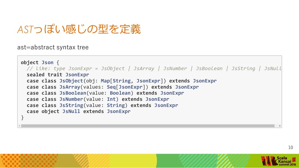 AST っぽい感じの型を定義 ast=abstract syntax tree object ...