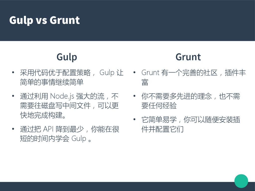 Gulp vs Grunt Gulp ● 采用代码优于配置策略, Gulp 让 简单的事情继续...
