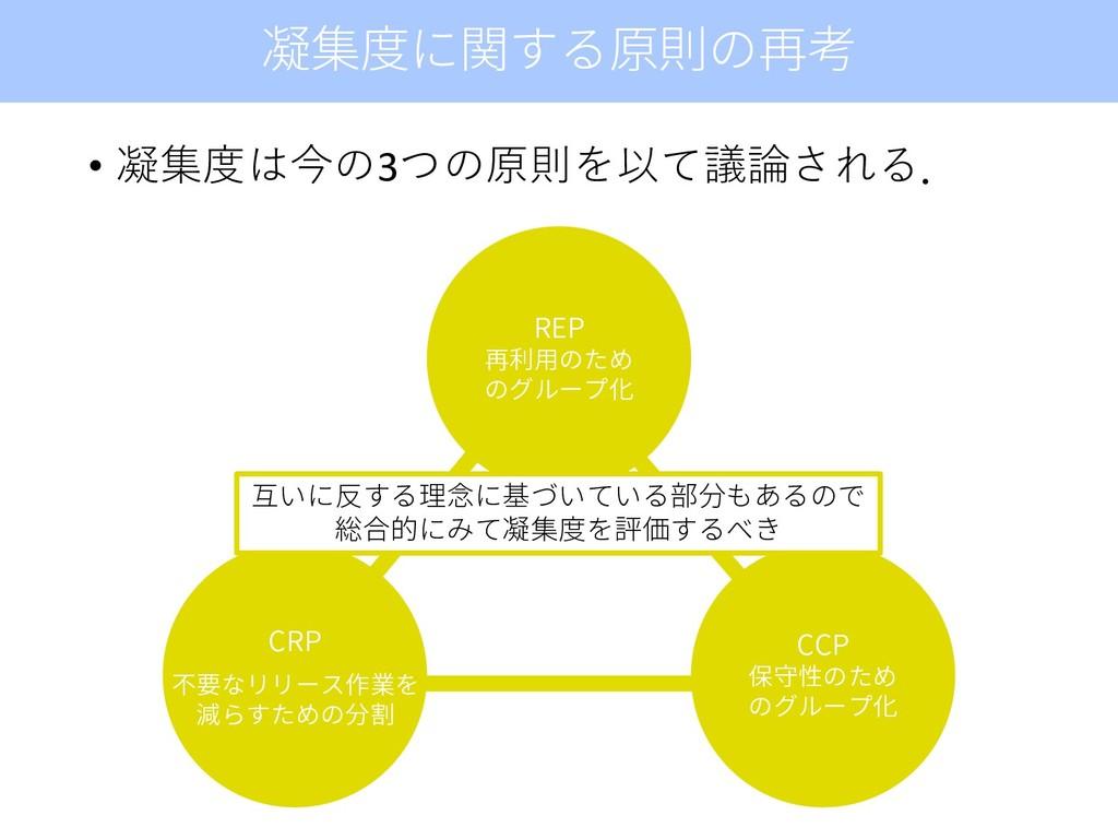 • 凝集度は今の3つの原則を以て議論される. 凝集度に関する原則の再考 REP 再利用のため ...