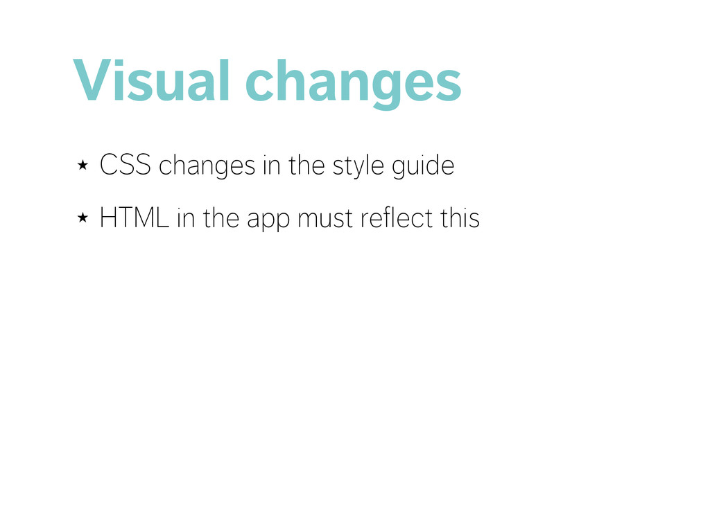 Visual changes ★ CSS changes in the style guide...