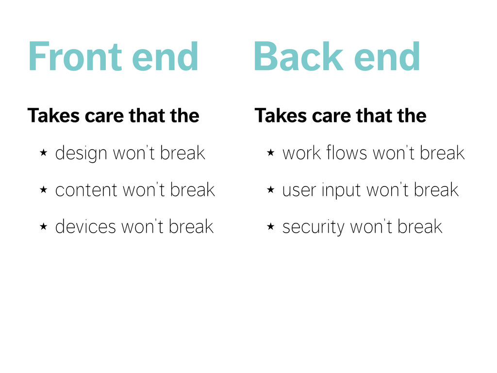 Front end Takes care that the ★ design won't br...
