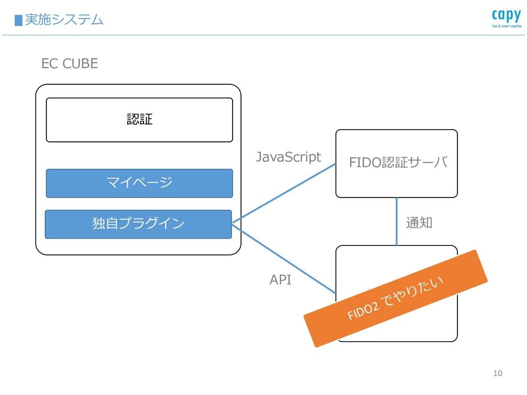 ▮実施システム 10 EC CUBE マイページ FIDO認証サーバ 認証 専⽤アプリ Jav...