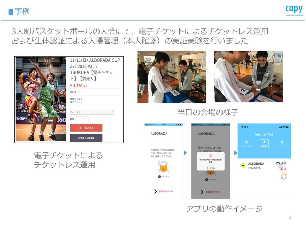 ▮事例 2 アプリの動作イメージ 電⼦チケットによる チケットレス運⽤ 3⼈制バスケットボール...