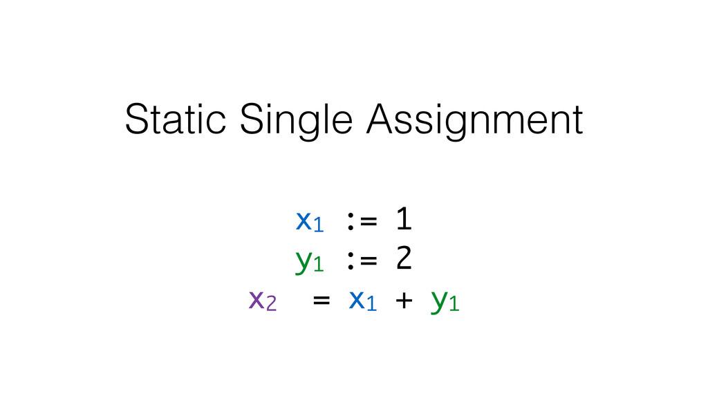 x1 := 1 y1 := 2 x2 = x1 + y1 Static Single Assi...