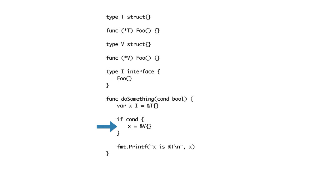 type T struct{} func (*T) Foo() {} type V struc...