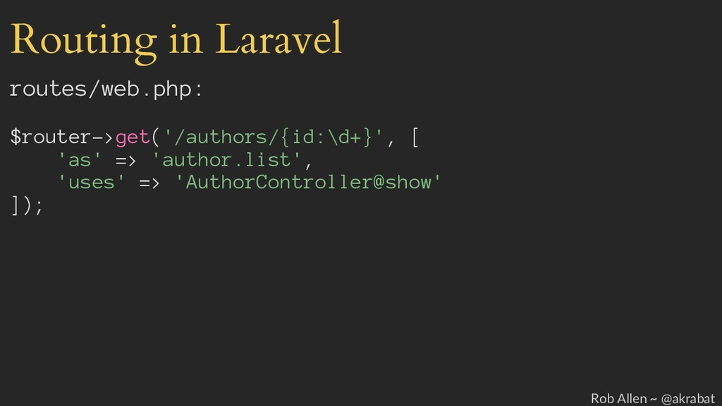 Routing in Laravel routes/web.php: $router->get...