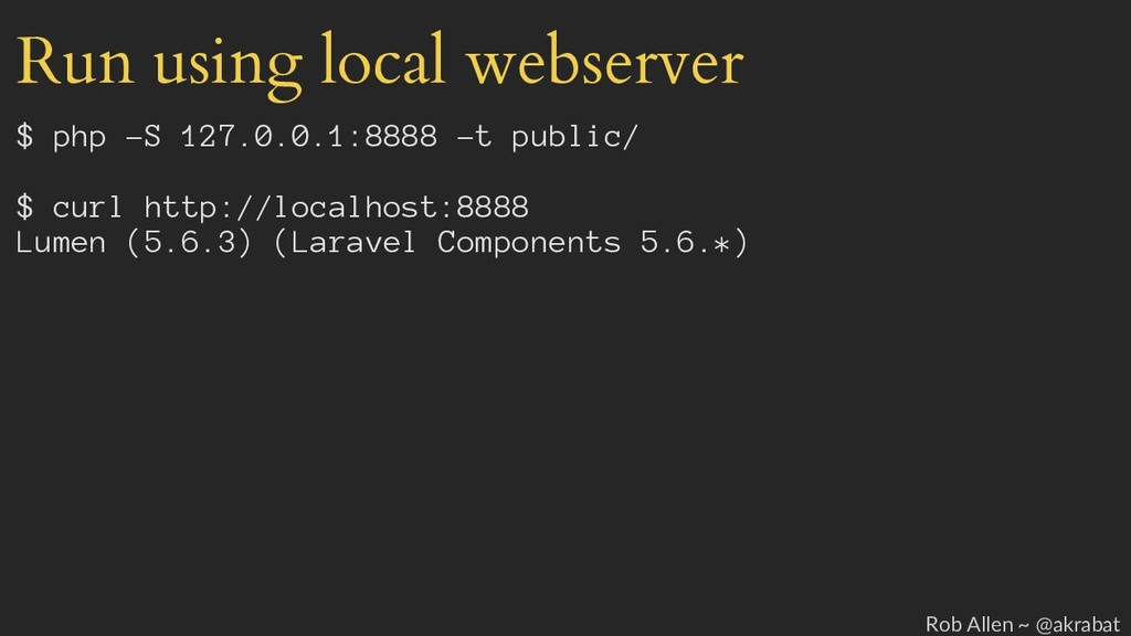 Run using local webserver $ php -S 127.0.0.1:88...