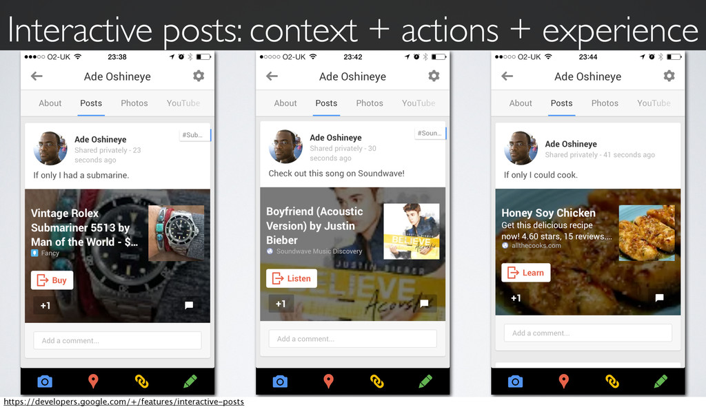 Interactive posts: context + actions + experien...