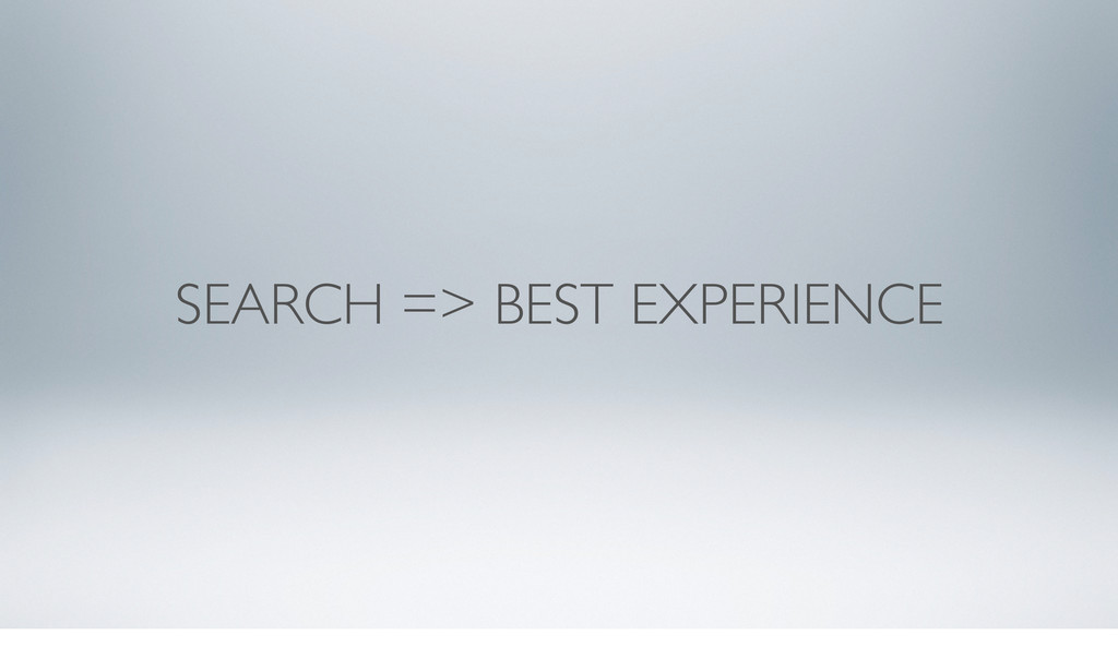 SEARCH => BEST EXPERIENCE