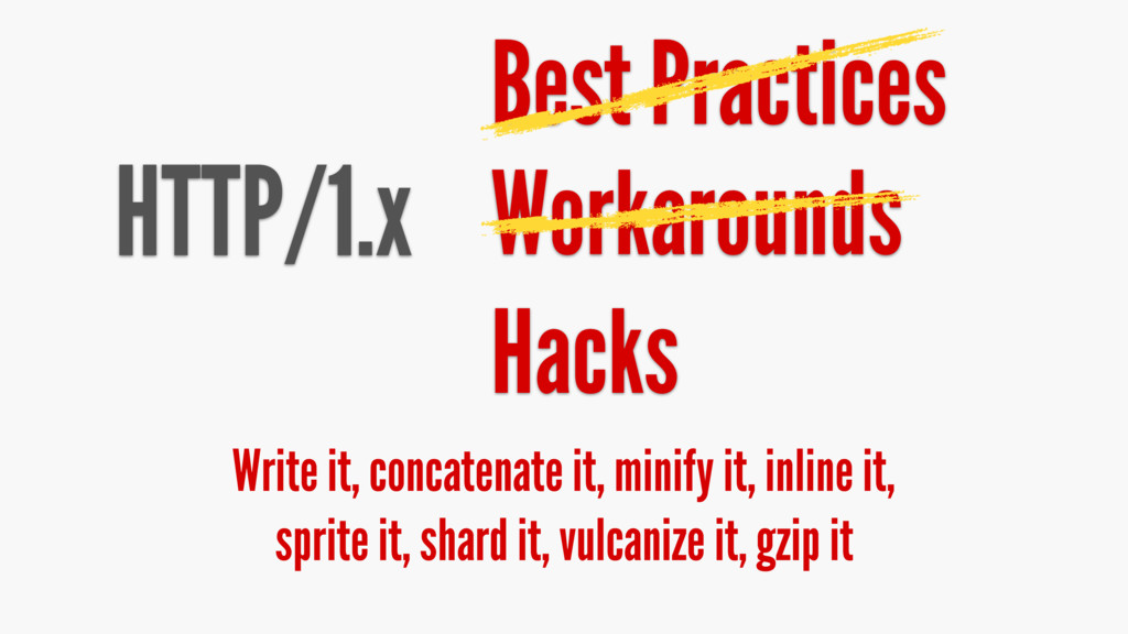 HTTP/1.x Best Practices Write it, concatenate i...
