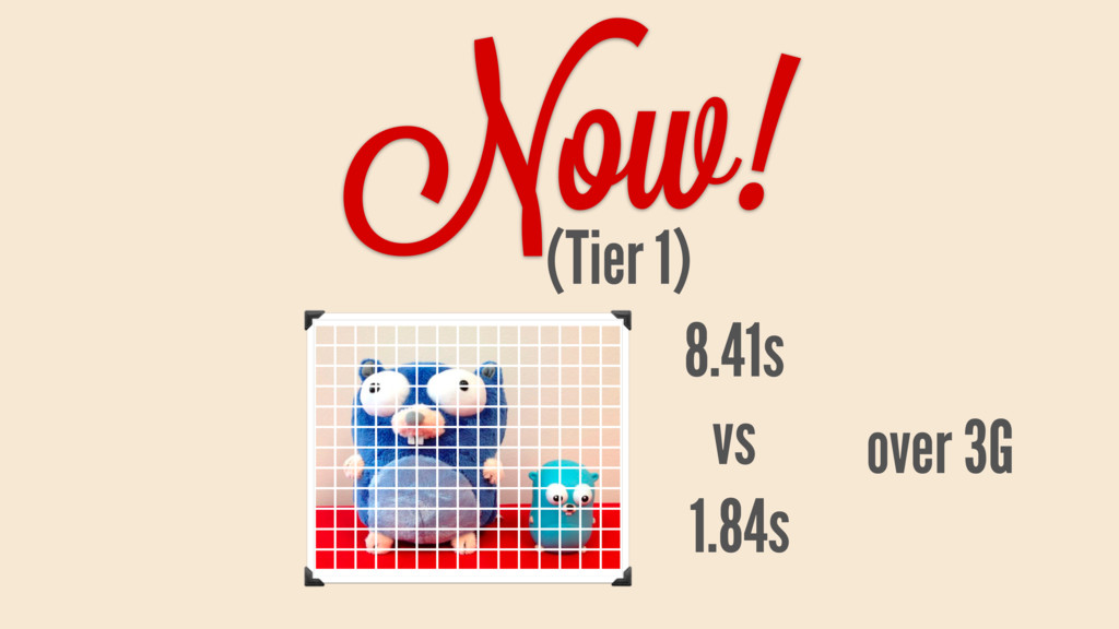 Now! (Tier 1) 8.41s vs 1.84s over 3G